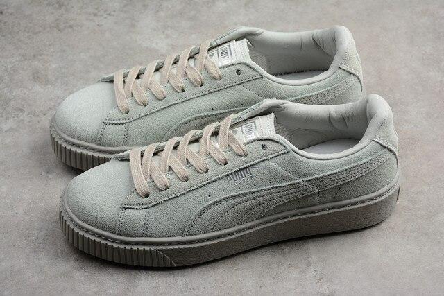 5b5aaff33b3ed6 2018 PUMA Basket Platform Reset Wn s Gray Violet Men s and Women s Sneaker  Badminton Shoes Size 36-44