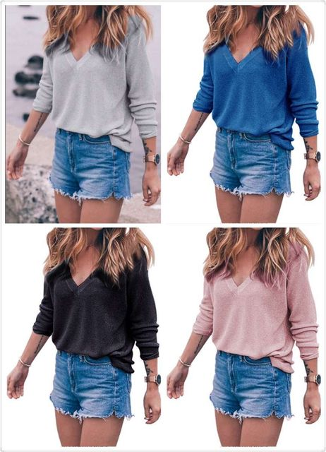 Sexy Sweater female 2017 autumn winter fashion women loose knitted long-sleeved V -neck casual tops sweater for women ladies