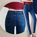 6 EXTRA LATGE Jeans Mulheres Verão Estilo Coreano Elástica Alta Calça Jeans de cintura Magro Era Calças Lápis Finos Calça Jeans Boyfriend Livre grátis