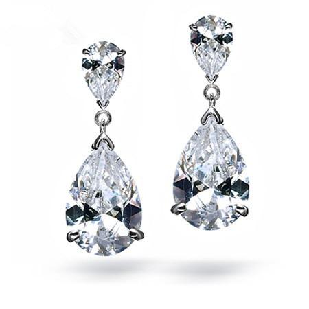 Shining Aaa Grade Cz Wedding Teardrop Earrings Luxury Dangle Cubic Zircon Bridal Earring Pin Bridesmaids