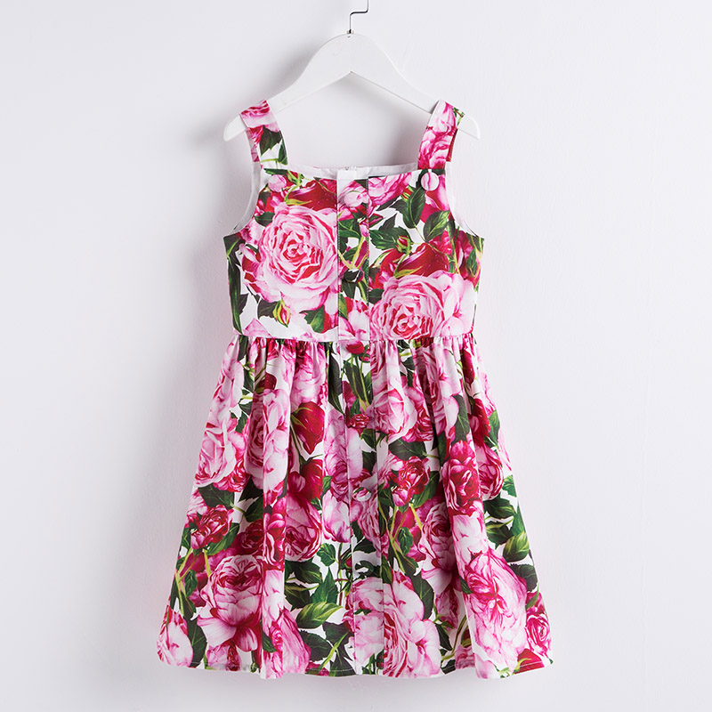 Summer children girls Sicilian Style clothes Fashion Runway Dress Italian rose Flower Print Dress kids girl formal party Dresses button up flower print dress