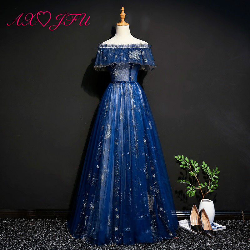 AXJFU Princess Boat Neck Navy Blue Lace Evening Dress Luxury Vintage Stage Blue Ruffles Star Blue A Line Evening Dress