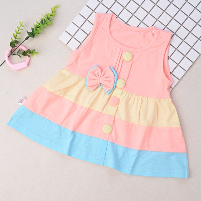 2018 Autumn Thin Section Baby Girl Dress Cute Bow Girl Baby Cotton Dress Solid Color Comfortable Girls Dress 0-2 Years Old hot sale wholesale christmas angel girl dress girls high quality boutique baby girl cotton dress