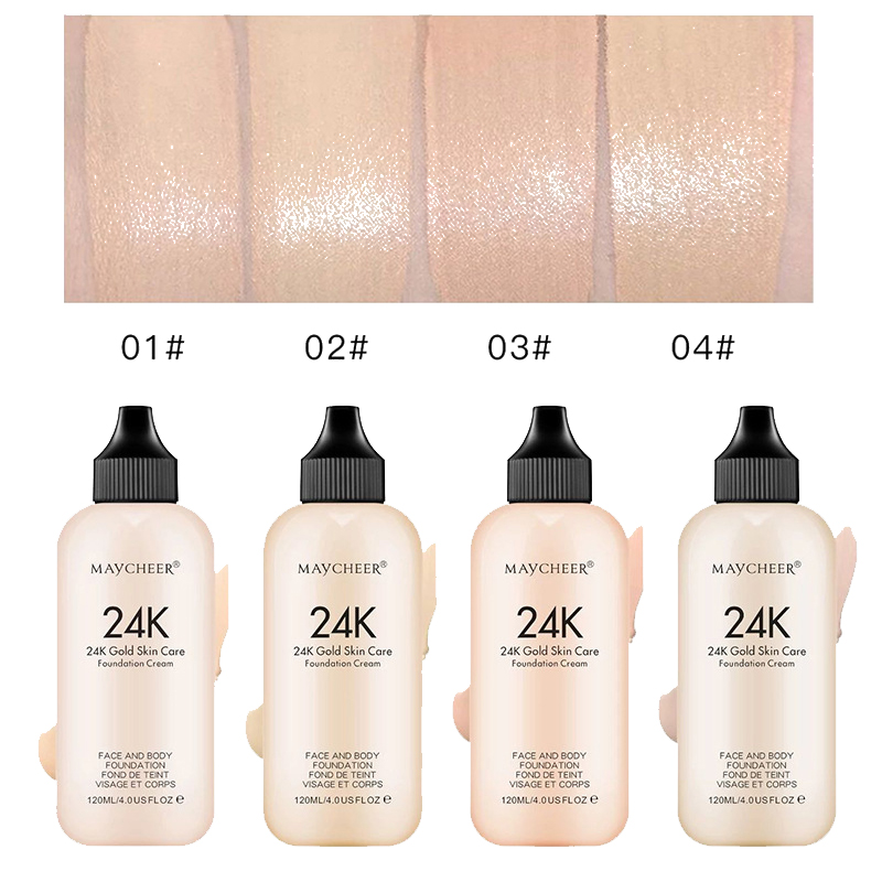 24K Moisturizing Long Lasting Liquid Face Foundation Makeup Face Coverage Naturally Concealer Oil-controling Lightfeel Cream