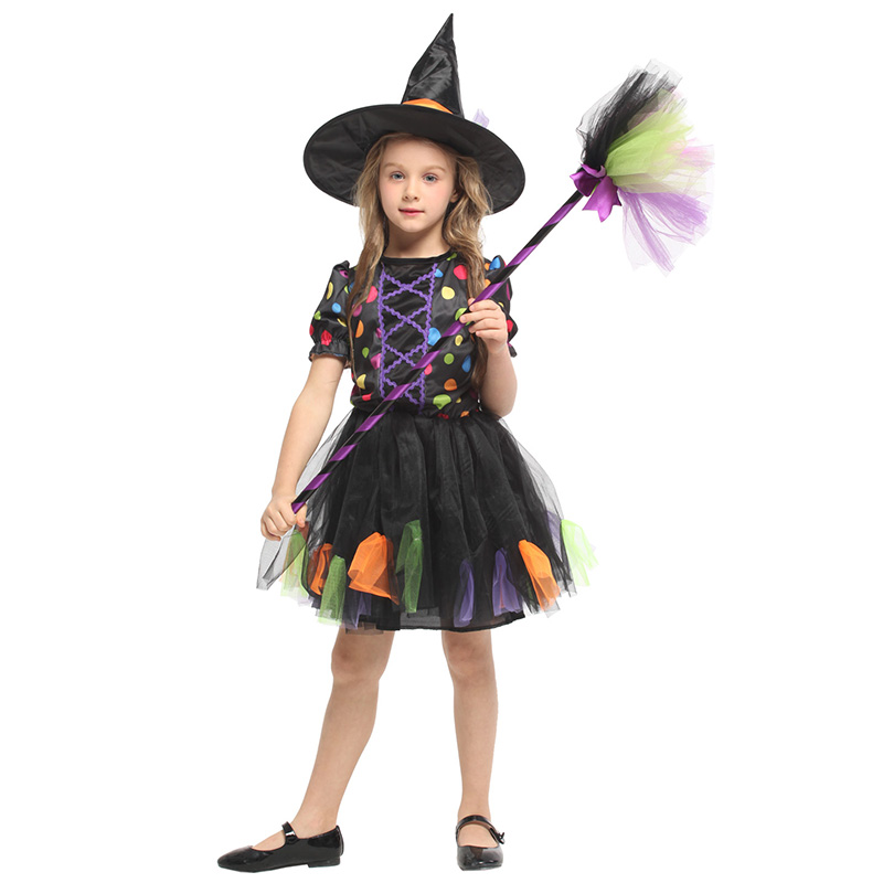 HUIHONSHE High Quality Children's Halloween Cosplay Clothes Children's Anime Magic Witch Clothes Girls' Pettiskirt Witch