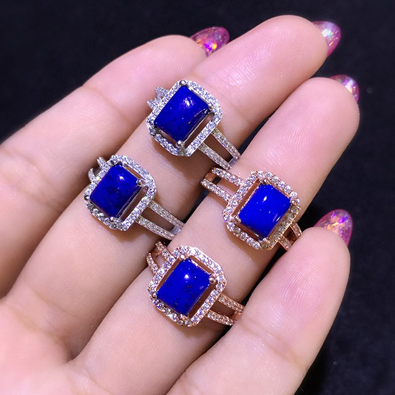 Natural Lapis Lazuli Blue Squre Stone Solid Silver 925 Ring Women Elegant Original Stone Real 925 Sterling Silver Jewelry Female