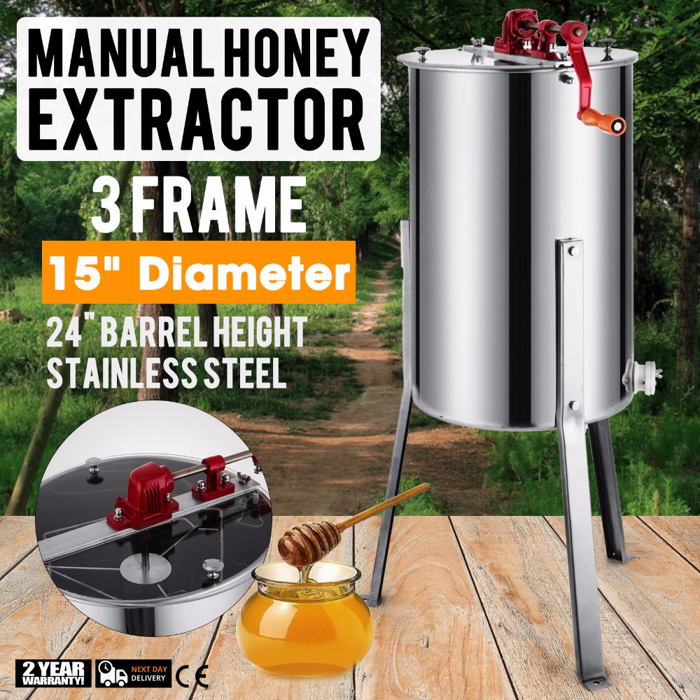 Brand New Large 3 Frame Stainless Steel Manual Honey  Extractor