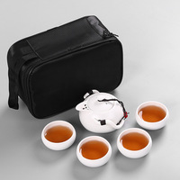 5 Pcs/Lot Tea Sets Porcelain China Portable Travel Tea Set Quick Cup Teapot Kettle Kung Fu Tea Set with Travel Bag