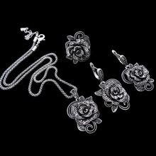 HENSEN Plateado Plata Antigua de la Joyería de Nueva Moda Vintage Negro Cristal Flor Colgante Collar de la Joyería de Las Mujeres
