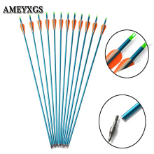 6pcs/12pcs Archery Aluminum Arrow 3inch Rubber Feather ID 7.6mm 300 Spine Shaft Used For Hunting Shooting