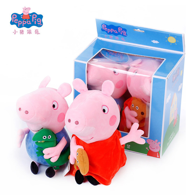 Original 2Pcs/set 19cm Peppa George Pig Gift Boxes Animal Stuffed Plush Toys Christmas New Year 2018 Best Gifts For Kids Girls original 4pcs peppa george pig 30 19cm stuffed plush toy mother father pig doll birthday new year 2018 gift toy for girl kids