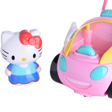Rc hello kitty дистанционного управления автомобилем розовая свинья миньоны doraemon электрическая с музыка света симпатичные brinquedos дети подарок на день рождения