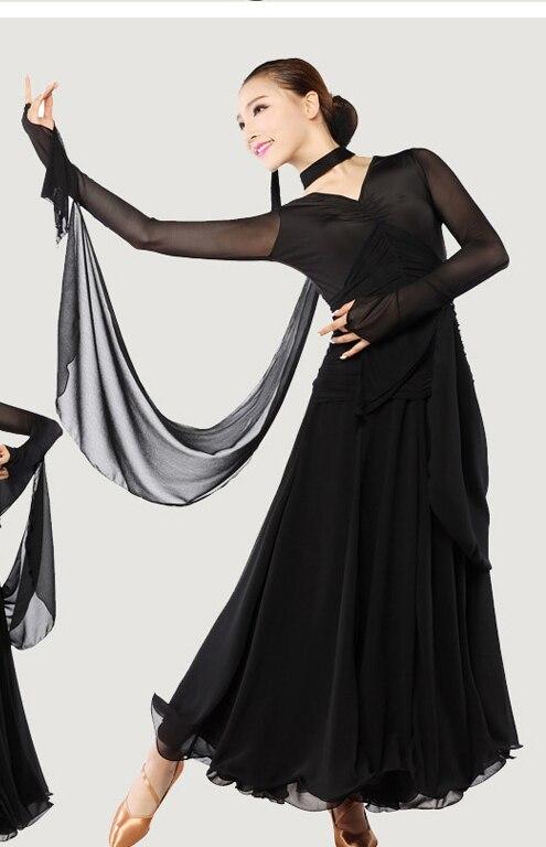 Женские Красный/Черный Длинные рукава современные Танцы платье бальное танго платье/Stage Одежда для танцев - Цвет: Черный
