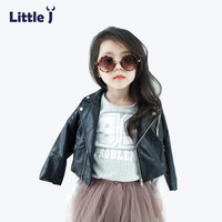 Little J Fashion Punk Style Zipper PU Leather Jackets Kids Spring Autumn Jacket Girls Boys Motorcycle