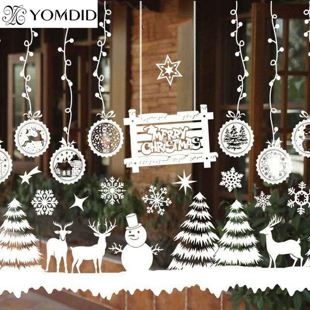 merry christmas window decorations santa claus deer snowman snowflakes bells christmas decals ner year enfeites de - Merry Christmas Window Decorations