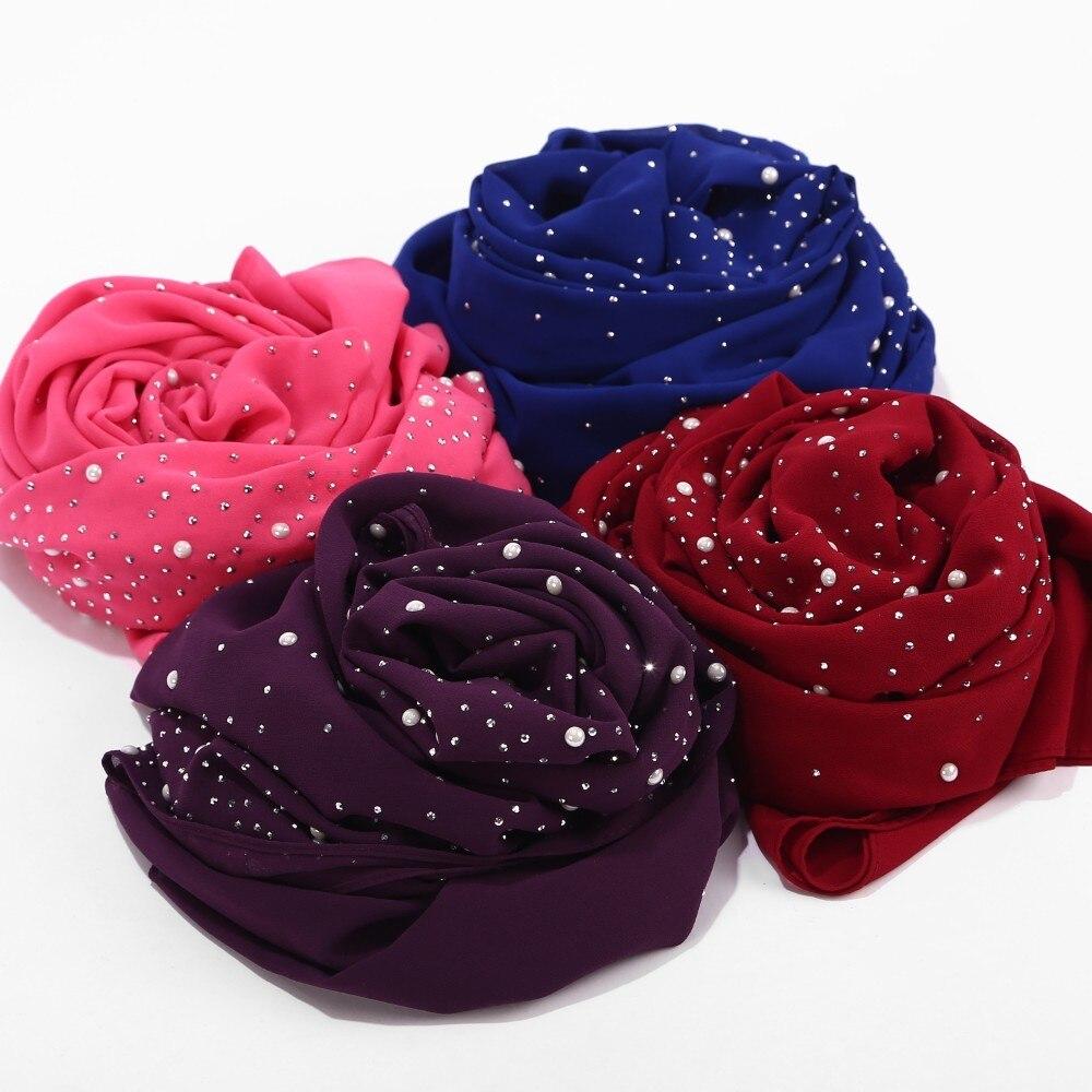 Bubbles Chiffon Scarf With Diamond Studs Pearls Scarf Plain Hijab Shawls Wraps Muslim Hijab Scarf For Women Girls