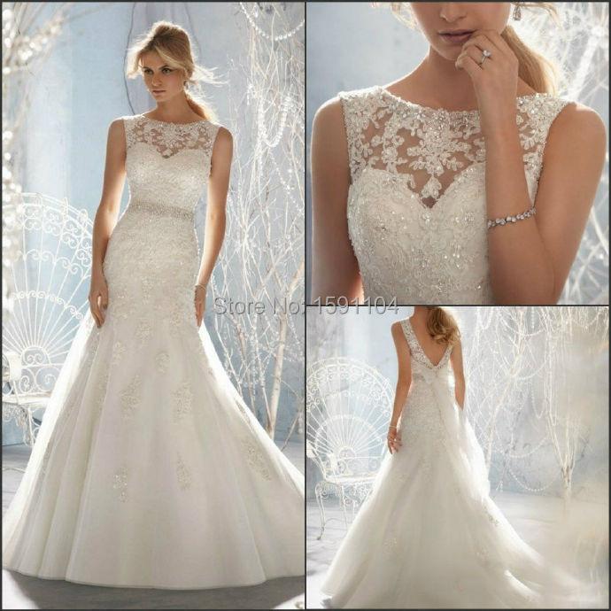 Sheer Back Mermaid Wedding Dresses 2017 Crystal Design