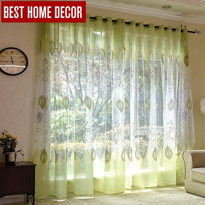 BHD rideaux de fenêtre en Tulle pur | Rideaux en tissu, feuilles vertes, pour la cuisine et la chambre à coucher