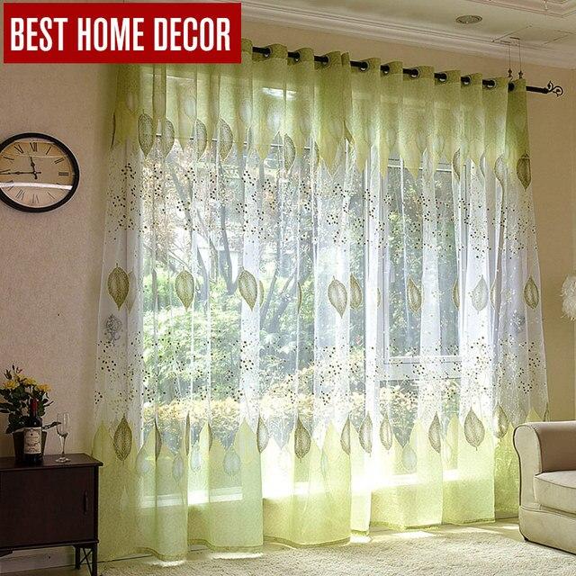 BHD sheer tulle tende della finestra per soggiorno camera da letto cucina moderna tende di tulle verde foglie tende in tessuto tende