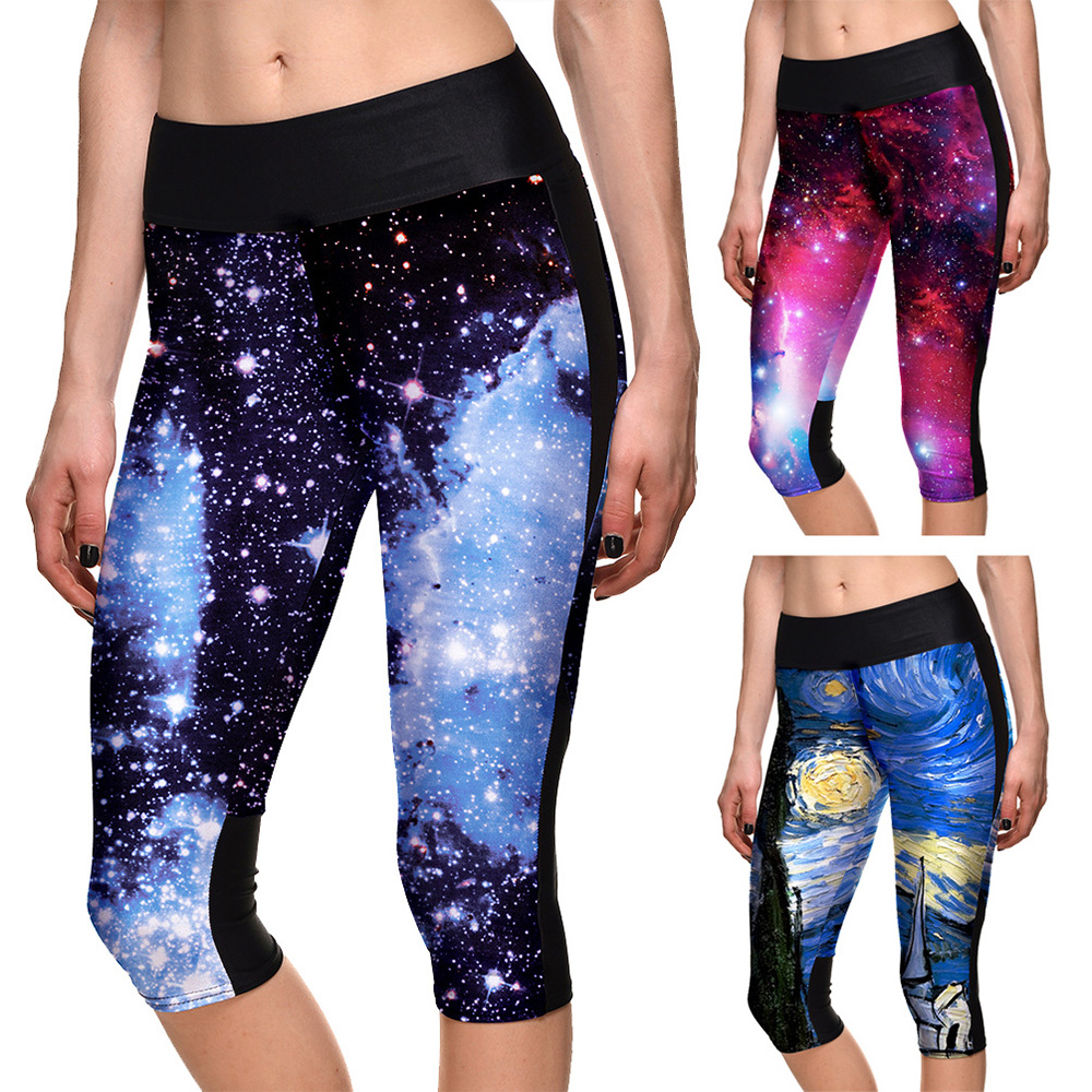 2019 Spring Women Printing Leggings Cosmic Space Galaxy Star Gothic Capris Brushed Buttery Soft Plus Size Slim Fitness Leggins