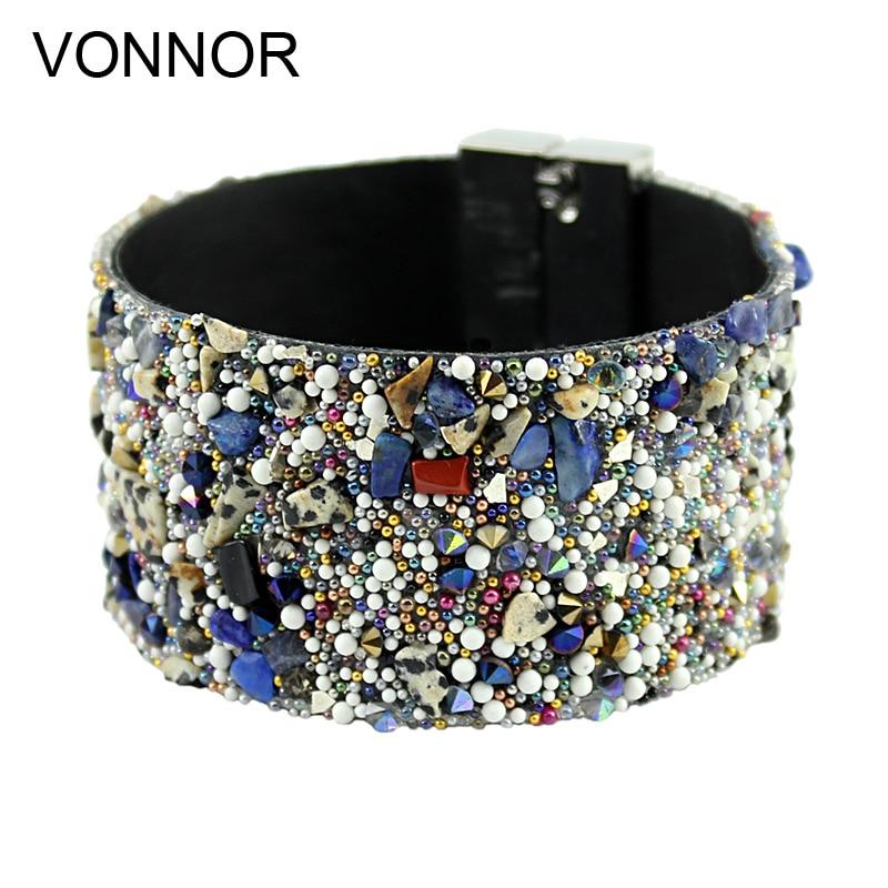 VONNOR smykker armbånd for kvinner kvinnelige lær armbånd med fargerike perler magnet clasp armbånd