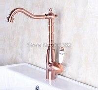 Kitchen Sink Faucet Antique Red Copper Finish Swivel Spout Basin Mixer Taps Ceramic Handle Kitchen Faucets