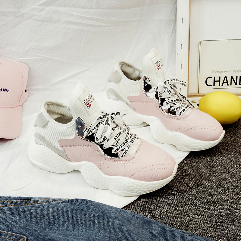 6104c55f23c4 High Quality Women Casual Shoes Wide Platform Heels Trainers Flats 2018  Cute Lace Up Tenis Feminino Creepers Pink White Sneakers-in Women s Flats  from Shoes ...