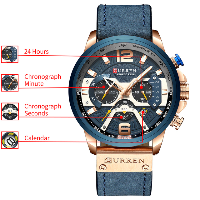 CURREN Casual Sport Top Brand Luxury Military Leather Wrist Watches 4
