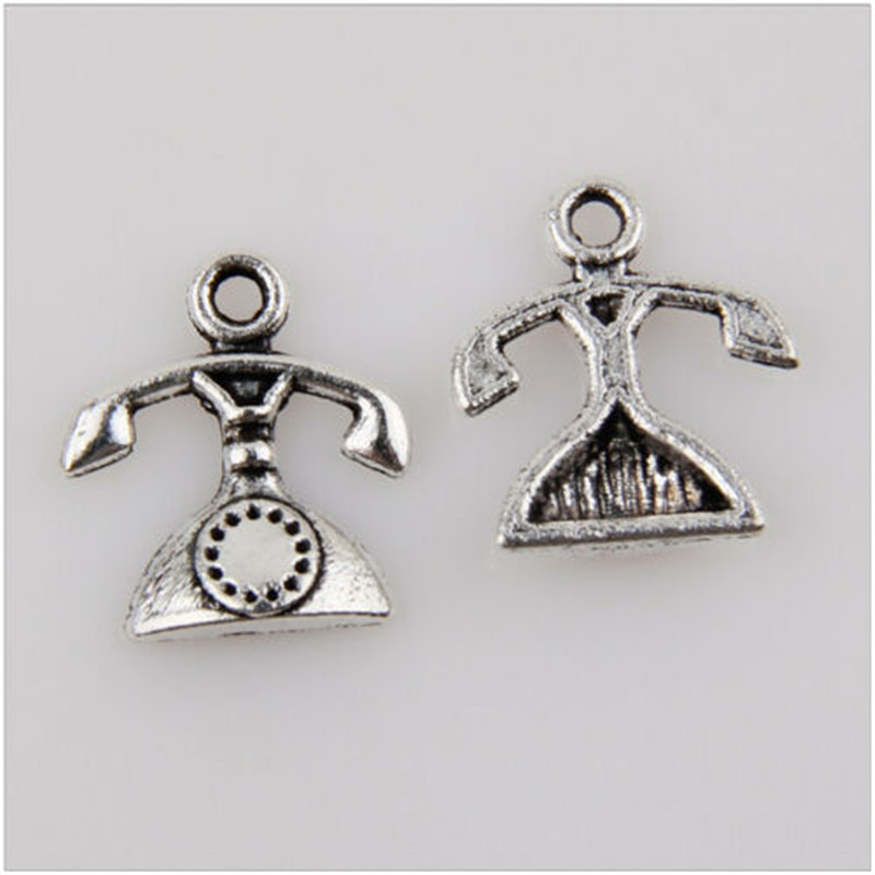 60pcs metal charm fixed phone Tibetan silver pendant production found 16 mm