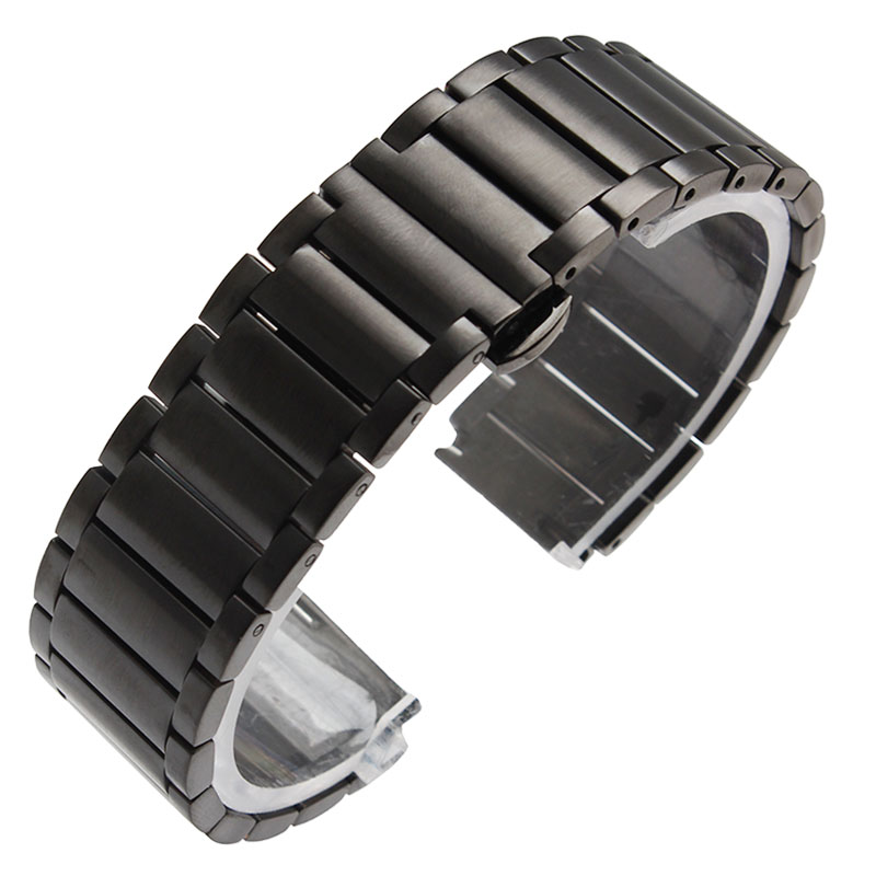 18/20mm Silver/Black Stainless Steel Watch Band Butterfly Buckle Women Watches Strap HQ Replacement Solid Link Bracelet