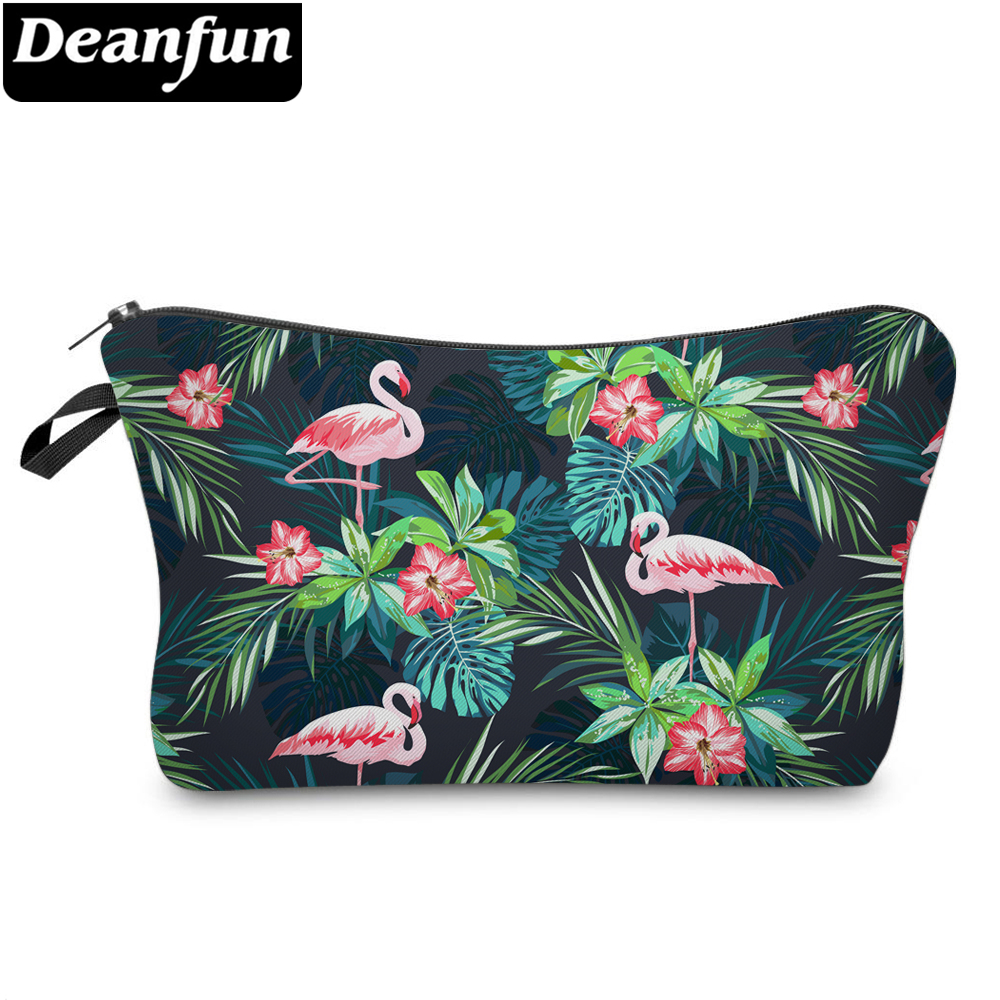 Deanfun Women 3D Printed Cosmetic Bags Flamingo Flower Travel Makeup Storage With Zipper  51303
