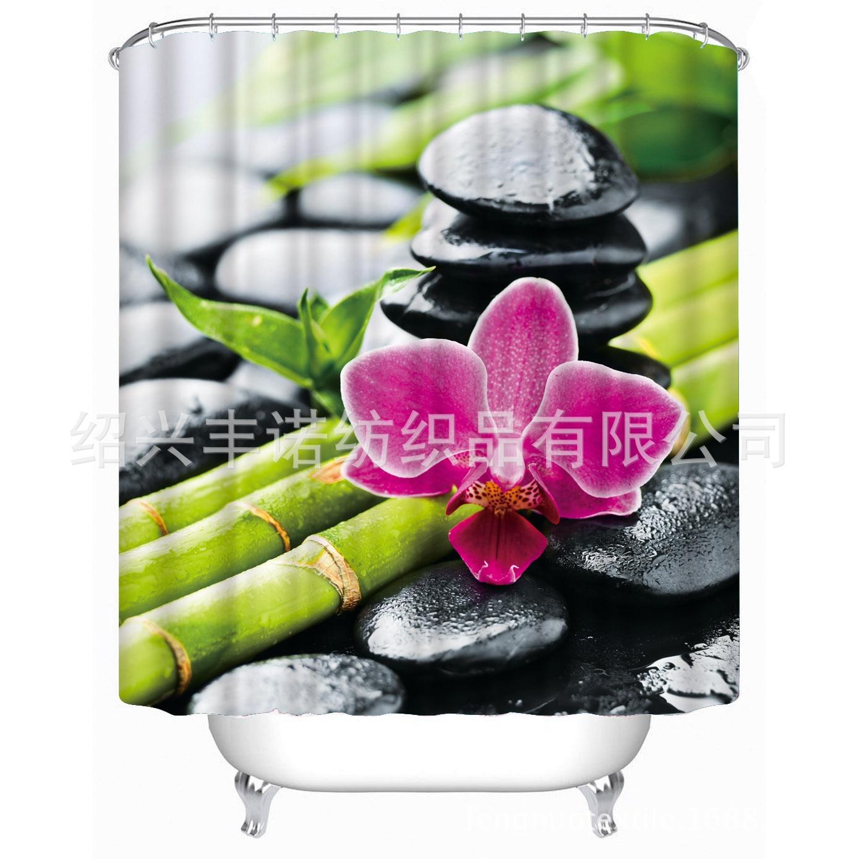 Salle De Bain Minerale ~  3d Bambou Pierre Fleur Impression Polyester Rideau