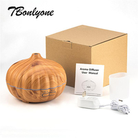 Tbonlyone 550Ml Wood Grain Pumpkin Humidifier With Light Essential Oil Diffuser Electric Ultrasonic Aroma Diffuser For