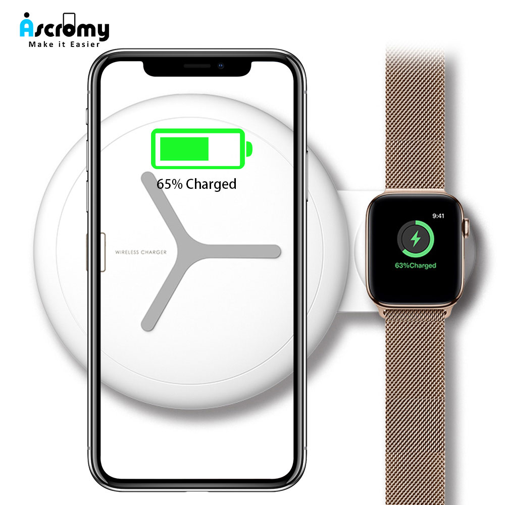 Ascromy 2 in 1 Wireless Charger Pad Stand For iwatch Apple