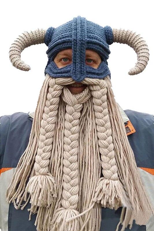 Oversized Beard Viking Mask Hat Helmet Hand Knitting Handmade Knitted Caps Men's Women Birthday Cool Gifts Party Mask