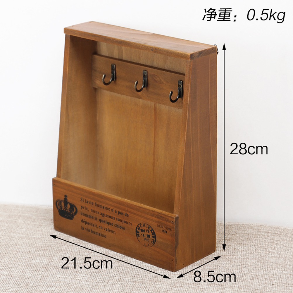 Image 3 - Mail and Key Holder  Retro Wall Mounted Wooden Box  Decorative Wall Mounted Key Rack Pocket Sorter for Entryway Kitchen Mudroom-in Hooks & Rails from Home & Garden