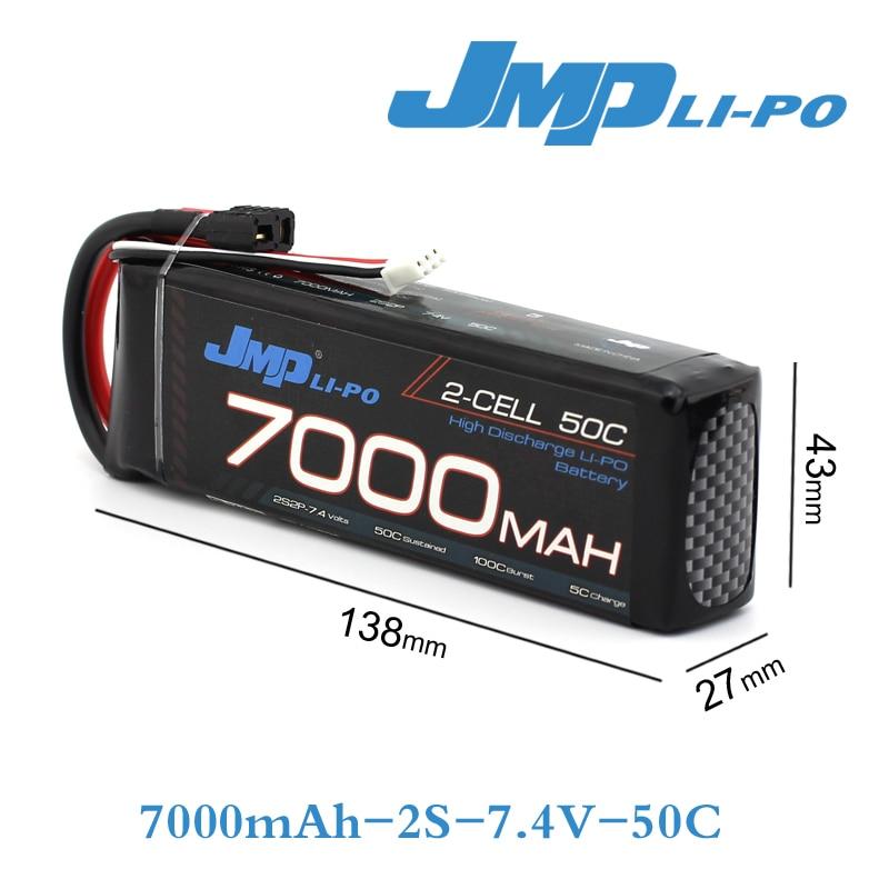 JMP Lipo Battery 2S 7000mAh Lipo 7.4V Battery Pack 50C Battery for 1/10 Car 1/8 RC Car for Traxxas TR-4 E-REVO SLASH FLUX NERO стоимость
