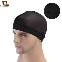 New fashion Unisex silky Dome Cap wide band stretchy wig cap Helmet Liner Biker Beanie Hat Turban Womens hair accessories