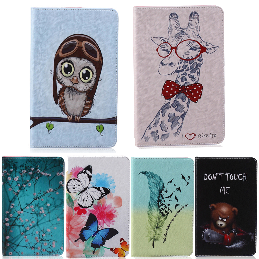 Cartoon For Apple iPad mini Case Painted Flower Owl PU Stand Funda Cover For iPad mini 1 2 3 7.9 inch with Card Holder