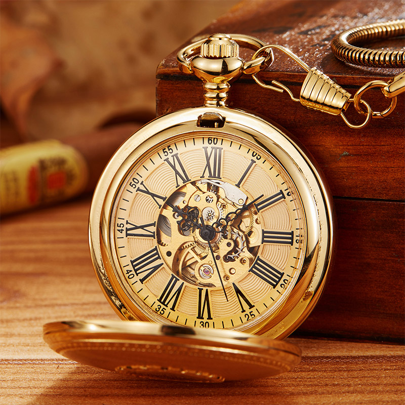 Vintage Copper Hand Wind Mechanical Pocket Watch With Chain Luxury Vacuum IPG Plate Pendant Fob Clock Men Women Relogio De Bolso