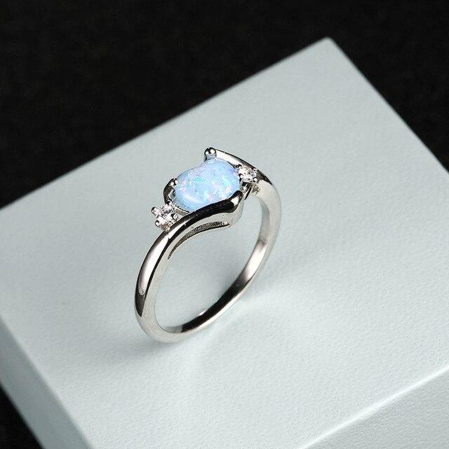 Whole Wedding Rings Fine Jewelry Accessories Blue Opal Heart Women Funny Body Jewellery Fashion Love