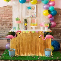Hawaiian Party Decorations 275x75cm Artificial Grass Table Skirt Tropical Luau Party Supplies Green Yellow With Hibiscus