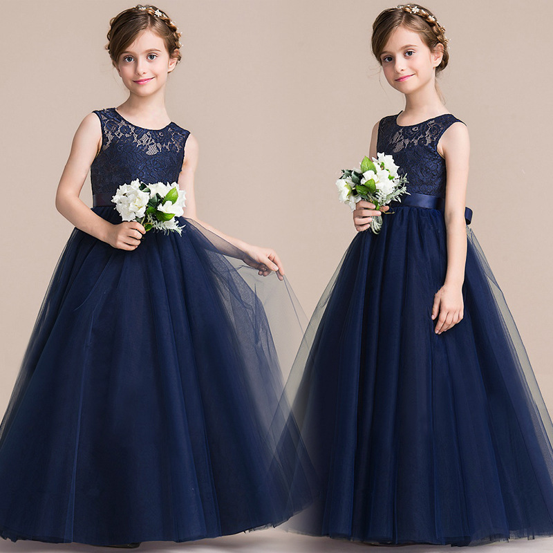 Girls dress children's wedding high-grade long section Peng Peng lace high waist Princess dress skirt 2017 spring and summer fashion girls clothing europe and the united states wind dress long sleeved lace princess peng peng dress