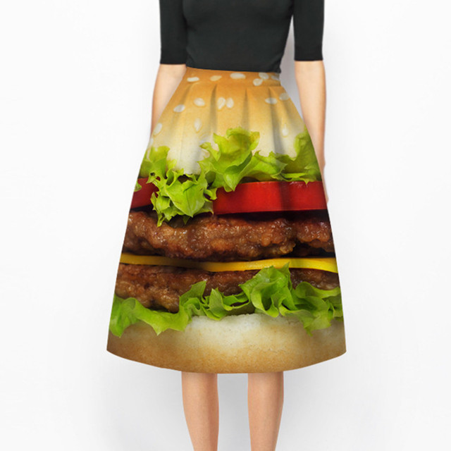 2016 Summer New fashion 3d food Hamburger skirt women High Waist A-line Skirt Donut print Midi Skater Skirt evening party skirt