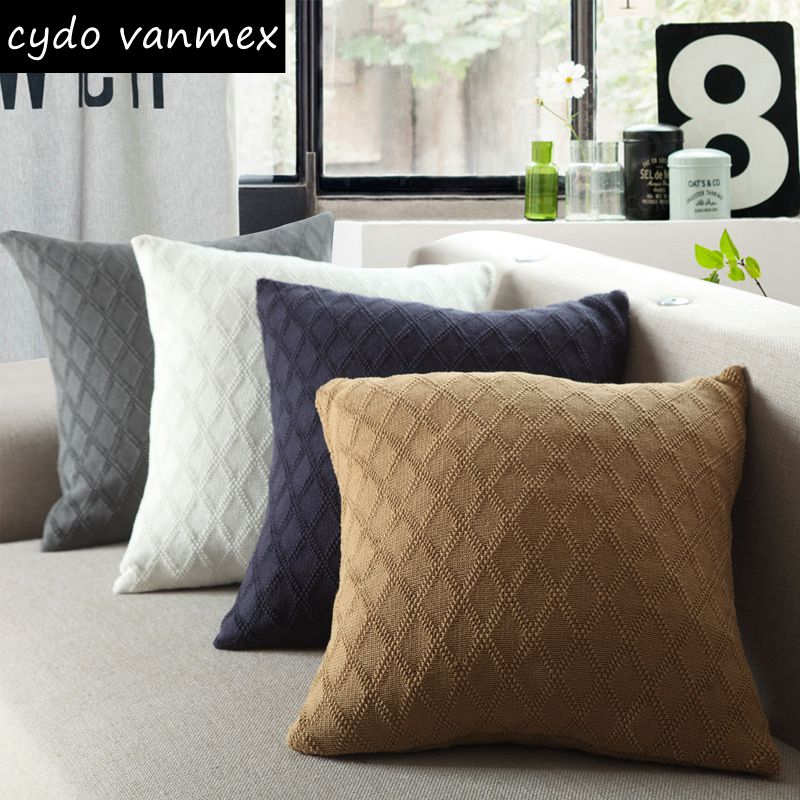 US $12.8 |knitting diamond design cushion cover solid colors brown almofada  navy blue sofa throw pillow case white cojines home decor-in Cushion Cover  ...
