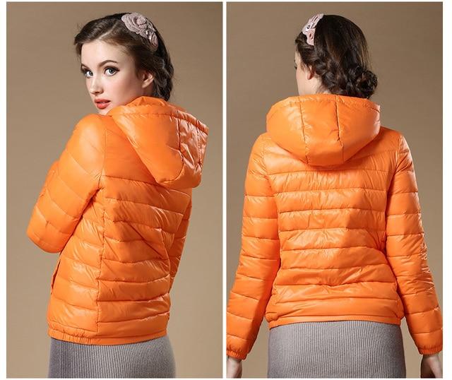 New 2016 Winter Autumn Women 90% White Duck Down Jacket Women's Hooded Light Down Jackets Warm Winter Coat Parkas High Quality 5