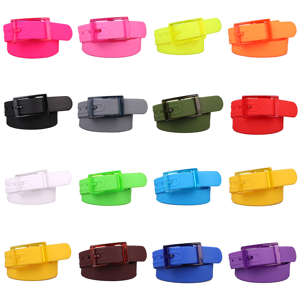 New Eco-Friendly Plastic Belt For Men Women Candy Color Unisex Silicone Rubber Belts Male Female Jeans Leather Strap Accessories