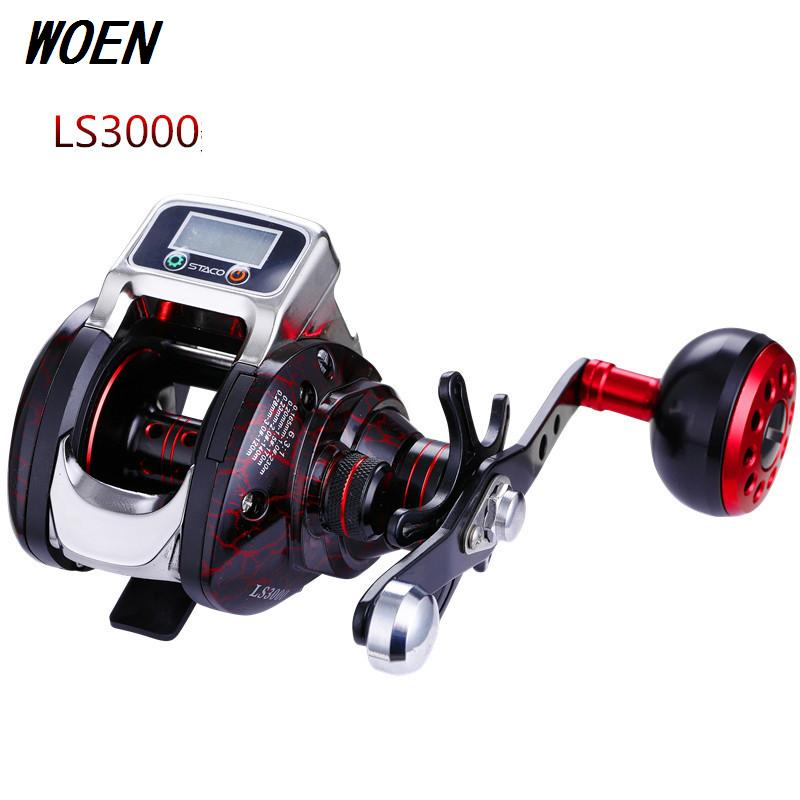 WOEN LS3000 Digital display Road Asian Water dorp wheel 15BB High-strength CNC machining aluminum count Fishing reel