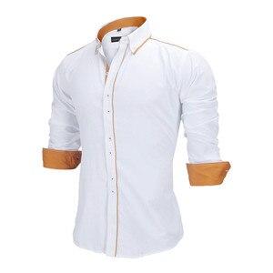 Image 3 - Visada Jauna Mannen Shirts Europa Size Nieuwkomers Slim Fit Man Shirt Solid Lange Mouwen Britse Stijl Katoen Mannen shirt Kantoor