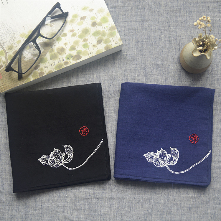 Habitat Nostalgic Chinese Wind Restoring Ancient Waysmen Cotton Lotus Buddhist Embroidery Flower Absorb Time! Handkerchief Gifts